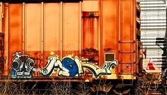 Grominate (mightyquinninwky) Tags: railroad overgrown train graffiti weeds character tag graf tracks railway tags 2006 tagged railcar fart rails boxcar graff graphiti 06 freight trainart stanly fr8 railart spraypaintart freightcar mern boxcarart freightart grominate taggedboxcar paintedboxcar grominator paintedrailcar taggedrailcar