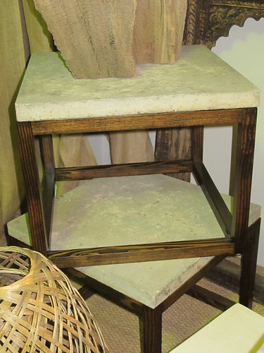 Handcrafted Concrete Paver Top/Wooden Base Table