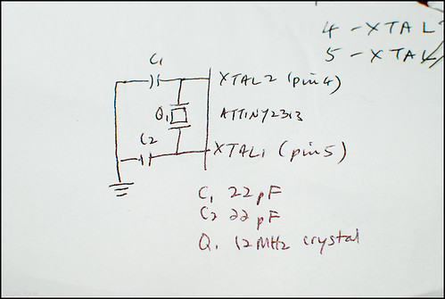 Connecting the capacitors and crystal oscillator to the ATTiny2313