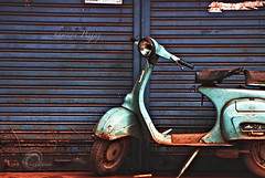 .hamara.bajaj. (.krish.Tipirneni.) Tags: old blue red india shop nikon goa scooter rusted shutter bajaj londa 18200vr hamarabajaj