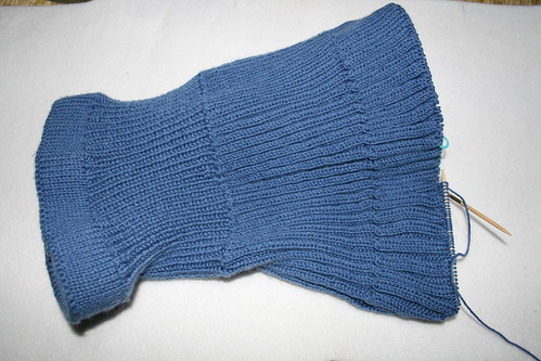S's blue skirt