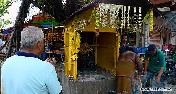 There is a small Indian shrine beside the Goddess of Mercy Temple