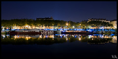 OTO (M2BC) Tags: city light urban colors reflections stars boats eau lyon couleurs tag rhne rivers gradation 69 nuit lumires fleuve barges pniches d90 rhnealpes mywinners relfets
