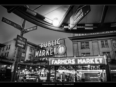 Farmers Market (Sebastian (sibbiblue)) Tags: seattle camera morning blackandwhite bw usa clock night nikon pacific farmersmarket watch highcontrast sw pikeplace schwarzweiss pikestreet publicmarket filmgrain fujineopanacros100 filmsimulation