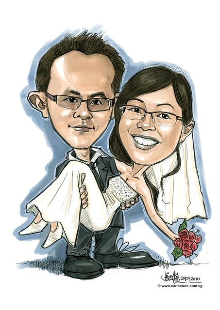 wedding couple digital caricatures in light wash