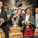 Norris winner Chara, Vezina and Jennings winner Thomas, Jennings winner Fernandez, and Adams winner Claude Julien pose after the 2009 NHL Awards on June 18, 2009 in Las Vegas