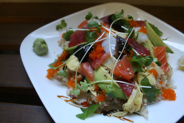 chirashi by homma's brown rice sushi
