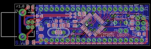 ATmega8U2/16U2/32U2 Breakout Board