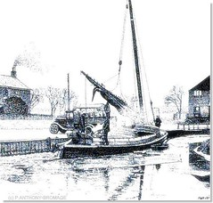 ICE ON THE STAITHE (Norfolkboy1) Tags: england norfolk stipple penink rapidograph pointillism sailingboat wherry originaldrawing riverant rnbant museumofthebroads panthonybromage stalhamstaithe anothercrapscan