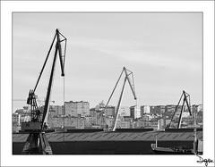 Tres Hermanas (diegogm.es) Tags: bw byn blancoynegro puerto mar corua barco olympus bn galicia grua zuiko oceano atlantico 40150 e520