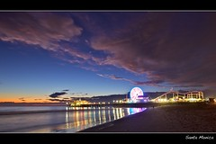 santa monica (Eric 5D Mark III) Tags: ocean california longexposure light sunset sky cloud color reflection beach water night pier losangeles santamonica dramatic atmosphere wideangle ferriswheel tone noeltykay ef1635mmf28liiusm