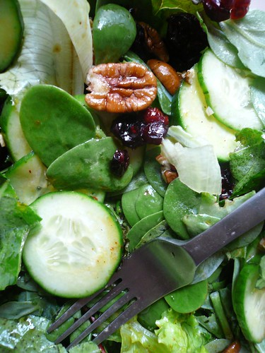 A salad with nuts and purslane