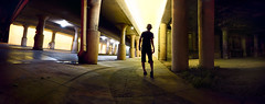 Stepping into the Night (J A M U S) Tags: bridge urban panorama abandoned silhouette perfect streetlights grunge citylife stpaul eerie panoramic sidewalk tunnell yellowlight walkingatnight peterjamusholme peterjamuscom