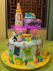 Babay land birthday cake (Jcakehomemade) Tags: cow clothing shoes towel present chandler storybook pacifier babybottle 1stbirthdaycake babyshowercake noveltycake 3dcake childrencake babybirthdaycake customizedcake jcakehomemade babylandcake