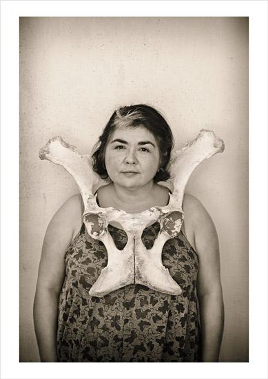 Fibro Wall Portrait Series, Eugenia, Bone Necklace