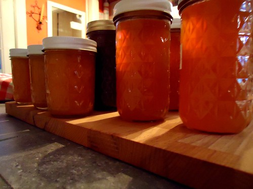 apple and pear butter and peach jam