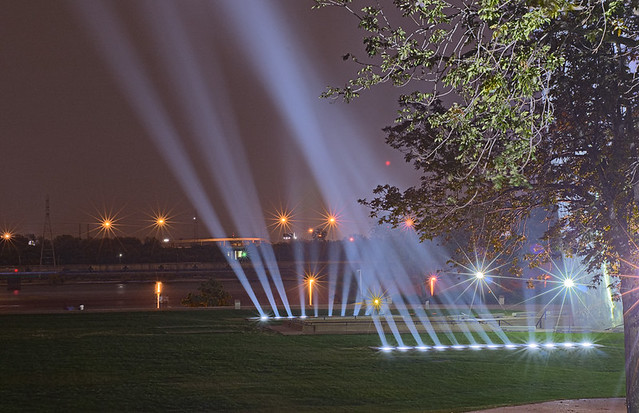 Gateway Arch, in Saint Louis, Missouri, USA - lights shining upward