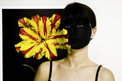 texas flame tulip (enjoythelittlethings) Tags: red black art girl yellow painting facepainting tulip 365 impressionist camisole clavicle mfimc