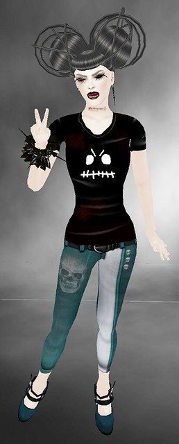 .::ODB::. Skullie  free t-shirt + carnivaL jeans - teal - caLLie cLine