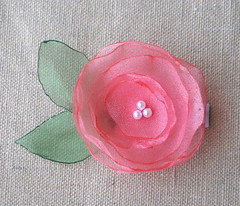 Pink organza hair clip (Creations by Kara) Tags: organza fabricflower flowerhairclip