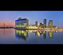 BBC Media City Panorama (i.rashid007) Tags: uk panorama reflections manchester salfordquays bluehour salford mediacity bbcmediacity