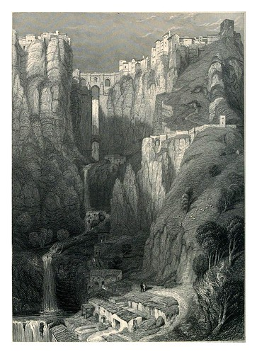 018-El puente de Ronda-Tourist in Spain-Granada-1835-David Roberts