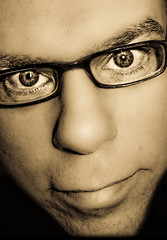 Glasses and Eyes (CWhatPhotos) Tags: pictures camera blue portrait man male eye sepia digital portraits self canon that paintshop glasses photo eyes foto power with shot artistic photos over picture tint powershot have adobe fotos pro emotional exposed compact s90 lightroom photox2 selfportraitsunlimited