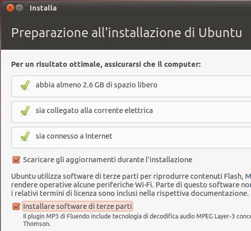 Figura 12 - Verifica impostazioni per l'installazione ottimale di Ubuntu;