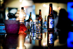 Cass bar reflection (Eric Reichbaum) Tags: stilllife beer bar night reflections candles korea nightlife cass ilsan