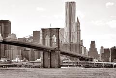 Brooklyn Bridge and 8 Spruce Street (Beekman Tower) (Beth Fishkind) Tags: nyc newyorkcity bridge bw ny newyork skyline brooklyn nikon manhattan brooklynbridge nikkor hdr beekman d90 bracketed nikoncapture picturenaut nikoncapturenx 70300mmf4556gvr nikond90 70300vr nikkor70300mmvr 8sprucestreet nikonsoftware capturenx2