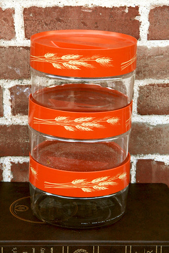 Trio of Orange Autumn Wheat Pyrex Containers