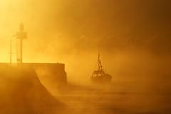 Coming home at dawn (Fujipix) Tags: sea orange clouds sunrise cornwall horizon sunsets sunrises storms looe