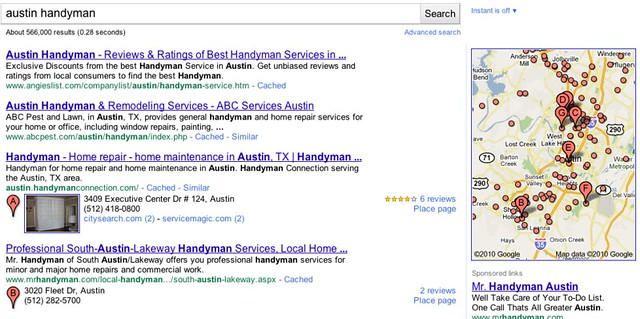 New Google Local Results - Austin Handyman