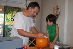 pumpkin carving time with daddy