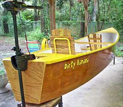 Dirty banana - not really - an environmentally sensitive electric canoe.