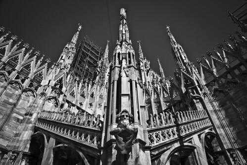 Tetto del Duomo di Milano - Tejado de la catedral de Milán en blanco y negro - MIlan's Cathedral roof in blakc and white