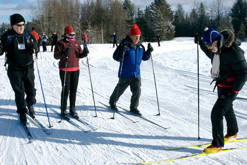 Taking a cross-country ski lesson