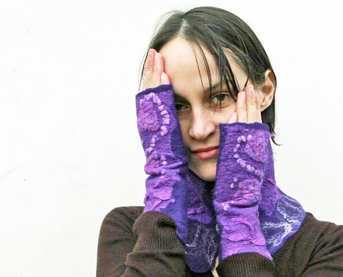mittens, nuno-felting, wrist warmers, felted, felt, wool, silk