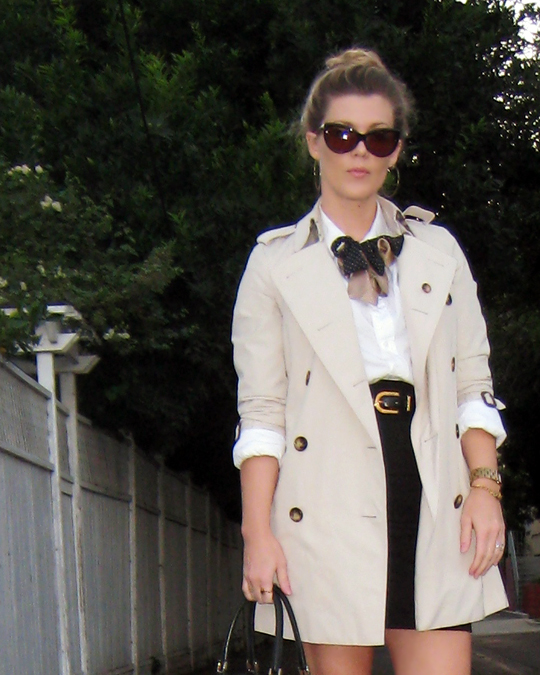 cat eye sunglasses+TOP KNOT+burberry trench coat+mini skirt and button down shirt