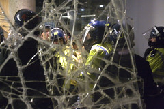 Broken Window..IMG_0955 (rodwey2004) Tags: london students riot police demonstration cop millbank fees tuition torypartyhq