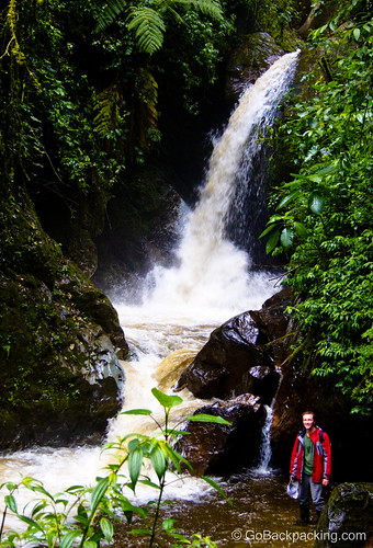 Stopping by a large waterfall - Valle de Cocora