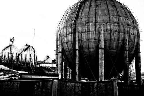 フリー写真素材, 建築・建造物, 工場・産業機械, モノクロ写真, スペイン,
