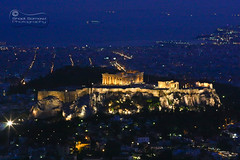 "The ""Rock"" of Athens.. (SonOfJordan) Tags: city travel blue houses light sunset sea color canon landscape eos cool ship athens parthenon greece acropolis xsi 450d samawi sonofjordan shadisamawi wwwshadisamawicom"