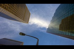 sky watching (Eric 5D Mark III) Tags: street blue sky cloud building lamp canon landscape la losangeles downtown cityscape perspective wideangle headsup ef1635mmf28liiusm eos5dmarkii