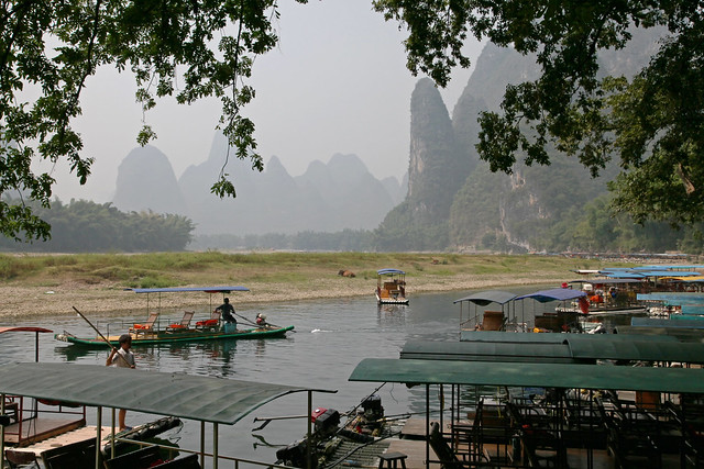 Boats and mountains in Xingping, Guangxi, China