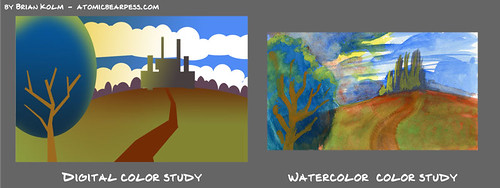 watercolor based digital color study 2