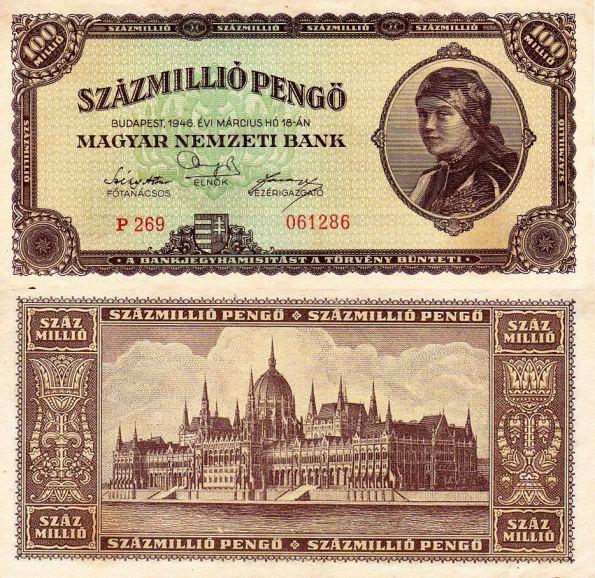 100 Milión Pengő Maďarsko 1946, P124