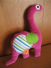 stuffed dinosaur side 2 (jcbonbon) Tags: baby home girl animal stuffed dinosaur sew fabric cotton gift applique ec thrifted
