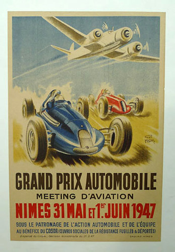 015-Nimes 1947 Grand Prix Automobile-© 2010 Vintage Auto Posters. All Rights Reserved