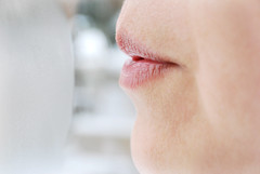 (yunahcorn) Tags: winter snow cold window face cheek skin breath lips